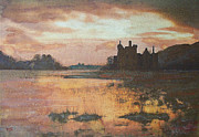 Historical Buildings Drawings Prints - Kilchurn Castle Scotland Print by Richard James Digance