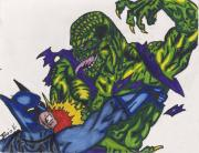 Superhero Drawings - Killer Croc vs Batman by Davis Elliott