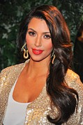 Dangly Earrings Framed Prints - Kim Kardashian At Arrivals For Qvc Red Framed Print by Everett