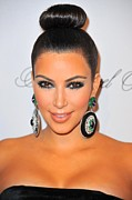 Diamond Earrings Framed Prints - Kim Kardashian At Arrivals For The Framed Print by Everett
