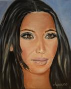 Famous Faces Painting Originals - Kim Kardashian Celebrity Painting by Dyanne Parker
