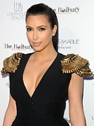 Black Top Framed Prints - Kim Kardashian Wearing An Alexander Framed Print by Everett