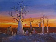 Boab Prints - Kimberley Boab Trees At Sunset Print by Audrey Russill