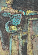Collagraph Prints - Kimberlite Pipes Print by Pamela Iris Harden