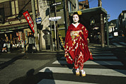 Entertainers Metal Prints - Kimono-clad Geisha Crosses A Street Metal Print by Justin Guariglia