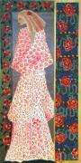 Figurative Tapestries - Textiles - Kimono Rose by Leslie Marcus