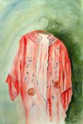 Shades Of Red Painting Framed Prints - Kimono Rouge Framed Print by Stella Ault
