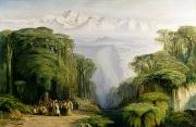 Snow Landscapes Paintings - Kinchinjunga from Darjeeling by Edward Lear