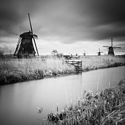 Windmills Framed Prints - Kinderdijk 01 Framed Print by Nina Papiorek