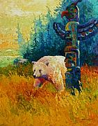 Salmon Fishing Paintings - Kindred Spirits - Kermode Spirit Bear by Marion Rose