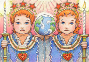 Babe Drawings Framed Prints - King and Queen of a Future World Framed Print by Amy S Turner