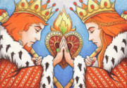 Colored Pencil Drawings Prints - King and Queen of Hearts Print by Amy S Turner
