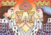 Spades Drawings Posters - King and Queen of Spades Poster by Amy S Turner