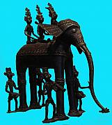 Tribal Art Sculptures - King and queen onelephant  by Dhannu Lal