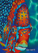 Paradise Tapestries - Textiles Prints - King Angelfish Print by Daniel Jean-Baptiste