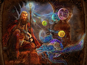 Spell Paintings - King Arthurs Merlin by Steve Roberts