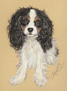 Best Friend Pastels Posters - King Charles Cavalier Spaniel Poster by Terry Kirkland Cook