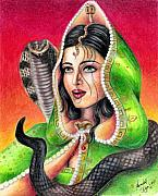 Prismacolor Colored Pencil Drawings Prints - King Cobra Print by Scarlett Royal