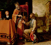 Table Paintings - King David Handing the Letter to Uriah by Pieter Lastman