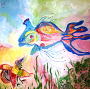 Most Mixed Media Originals - King fish  and hermit crab by Pretchill Smith