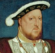 Face  Paintings - King Henry VIII by Hans Holbein the Younger