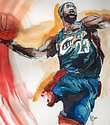 Lebron James Painting Framed Prints - King James Framed Print by Matt Burke