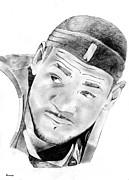 Miami Heat Drawings Prints - King James Print by  Peter Landis