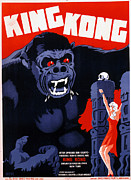 1933 Movies Framed Prints - King Kong, Danish Poster Art, 1933 Framed Print by Everett