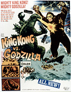 Godzilla Posters - King Kong Vs. Godzilla, Poster Art Poster by Everett