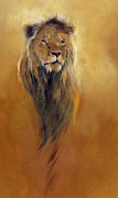 Wild Cats Paintings - King Leo by Odile Kidd