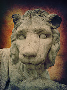 Statue Portrait Mixed Media Prints - King Lion Print by Angela Doelling AD DESIGN Photo and PhotoArt