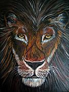 African Lion Painting Framed Prints - King Framed Print by Nick Gustafson