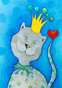 Hearty Prints - King of Cats Print by Sonja Mengkowski