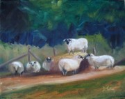 Bale Painting Metal Prints - King of Green Hill Farm Metal Print by Donna Tuten