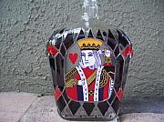 Hearts Glass Art - King of Hearts by Eileen Switzer