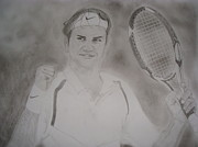 Roger Federer Paintings - King of our times by Mohammed Shareef