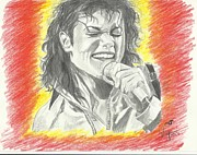 Michael Drawings Framed Prints - King of Pop-Michael Jackson Framed Print by Priya Paul