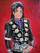 Pop Icon Paintings - King of Pop by Toni  Thorne