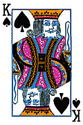Casino Digital Art Prints - King of Spades - v3 Print by Wingsdomain Art and Photography