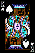 Casino Digital Art Prints - King of Spades Print by Wingsdomain Art and Photography