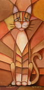 Abstract Cat Framed Prints - King of the Cats Framed Print by Jutta Maria Pusl