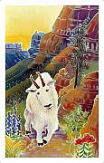 Mountain Goat Painting Prints - King of the High Peaks Print by Harriet Peck Taylor