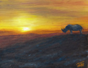 Rhinocerus Painting Prints - King of the Hill Print by Thea Gilliam