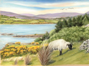 Flyfishing Prints Pastels Prints - King of the Hill Print by Vanda Luddy