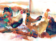 Family Farm Painting Prints - King of the Roost Print by Kathy Braud