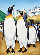 Emperor Penguin Posters - King Penguins Ball Poster by Robert Lacy