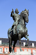 Historic Statue Posters - King Philip III Statue in Madrid Poster by Artur Bogacki