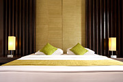 Hotel-room Prints - King Size Bed Print by Atiketta Sangasaeng