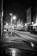 Snowing Framed Prints - King Street Charleston Snow Framed Print by Dustin K Ryan