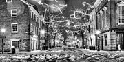 Alexandria Virginia Prints - King Street in Black and White Print by JC Findley